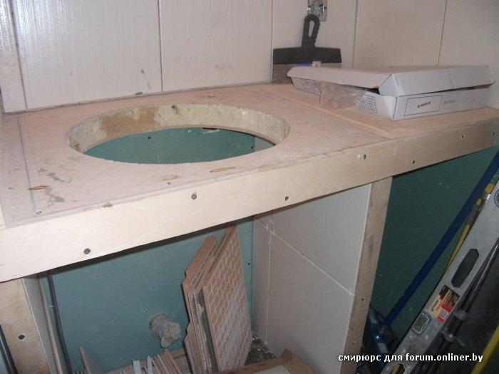 Столешница из гипсокартона в ванной комнате